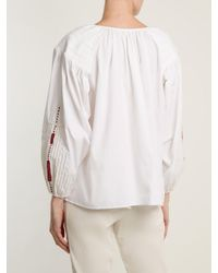 Mes Demoiselles White Lords Of Underground Peasant Cotton Top