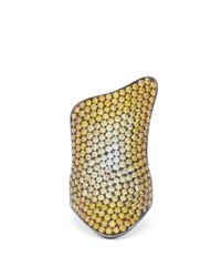 Lynn Ban Metallic Rhodium Plated Silver Diamond Pavé Ring