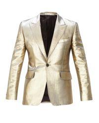メンズ Alexander McQueen コットンブレンドラメ シングルスーツジャケット Metallic
