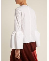 Roksanda - White Truffaut Bell-sleeved Cotton Top - Lyst