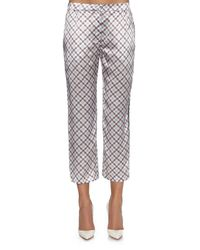Nina Ricci - Blue Cropped Checked Silk Trousers - Lyst