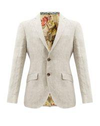 メンズ Etro リネンフィルアフィル シングルスーツジャケット Natural