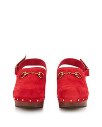 Gucci - Red Amstel Horsebit Suede Clogs - Lyst