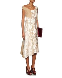 Stella McCartney | Metallic Jackie Off-the-shoulder Patchwork Dress | Lyst