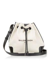 Balenciaga Black Bucket Leather-trimmed Canvas Shoulder Bag