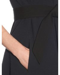 Lemaire - Black Cotton Seersucker Belted Dress - Lyst