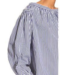 Maison Rabih Kayrouz - Orange Striped Cotton-poplin Off-the-shoulder Dress - Lyst