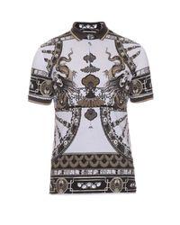 Dolce & Gabbana Gray Dragon-print Cotton-piqué Polo Shirt for men