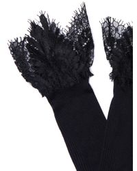 Raey Black Lace-top Silk Socks