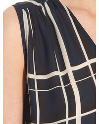 Vince - Blue Lattice-print Sleeveless Silk Top - Lyst