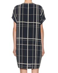 Vince - Black Lattice-print Silk Dress - Lyst