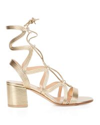 Gianvito Rossi - Metallic Hydra Lace-up Leather Sandals - Lyst