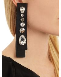 Lanvin - Black Grosgrain Crystal Earrings - Lyst