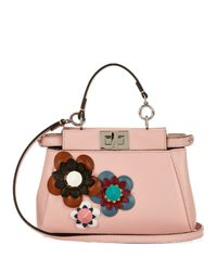 Fendi - Red Peekaboo Micro Floral-embellished Cross-body-bag - Lyst