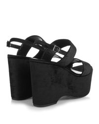 Saint Laurent - Black Candy Velvet Wedge Sandals - Lyst