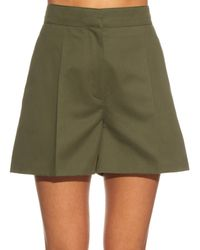 Valentino Multicolor Structured Cotton-gabardine Shorts