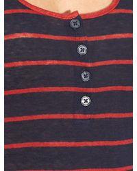 FRAME Purple Le Nautical Striped Linen Tank Top