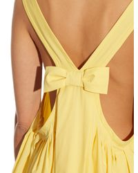 Rochas - Yellow Bow-Detailed Cotton-Poplin Dress - Lyst