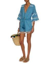 Dodo Bar Or Blue Ashtar Tassel-trimmed Cotton Playsuit