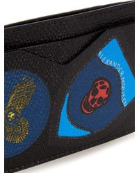 Alexander McQueen - Blue Badges-print Leather Cardholder for Men - Lyst