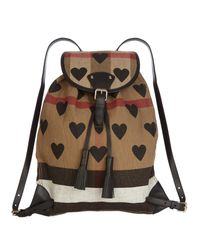 14c2d2744e1a Burberry Heart-print Canvas Checked Backpack - Lyst