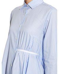 Palmer//Harding - Blue Asymmetric Step-hem Cotton-poplin Shirt - Lyst