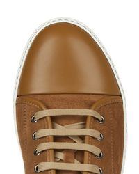 Lanvin Brown Low-top Suede And Leather Trainers for men