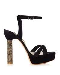 Sophia Webster | Black Belle Crystal-heel Suede Sandals | Lyst