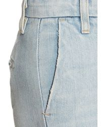 Current/Elliott Blue The Cropped Neat High-rise Wide-leg Jeans