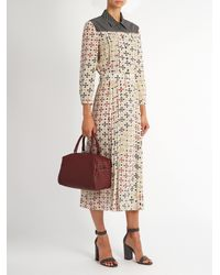 Bottega Veneta Black Bricks-print Silk-crepe Midi Dress