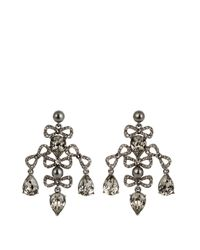 Oscar de la Renta - Gray Bow Crystal-embellished Earrings - Lyst