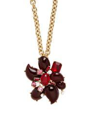 Oscar de la Renta - Multicolor Flower Crystal-embellished Necklace And Brooch - Lyst