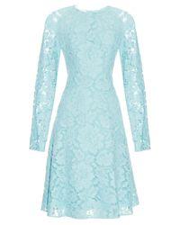 Oscar de la Renta Blue Long-Sleeved Lace Midi Dress