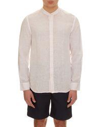120% Lino - Pink Granddad-collar Linen Shirt for Men - Lyst