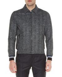Lanvin - Gray Point-collar Zip-front Bomber Jacket for Men - Lyst