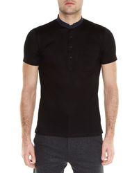 Lanvin - Black Contrast Granddad-collar Polo Shirt for Men - Lyst