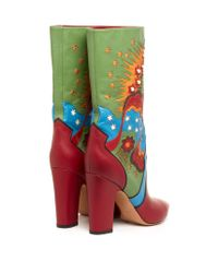 Valentino Multicolor Enchanted Wonderland Leather Boots