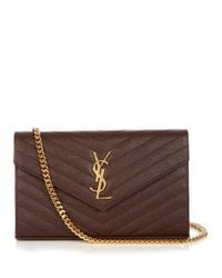 Saint Laurent | Brown Monogram Envelope Quilted Leather Cross-Body Bag | Lyst