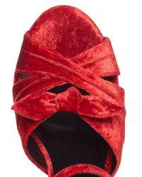 Saint Laurent Multicolor Candy Bow-detail Velvet Platform Sandals