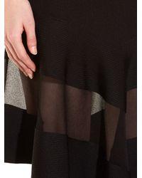 Givenchy Black Short-sleeved Sheer-panel Ribbed Dress