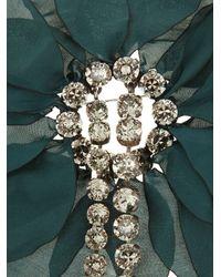 Lanvin - Green Floral-embellished Brooch - Lyst
