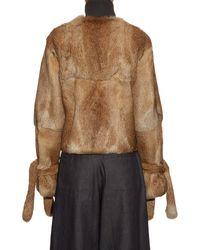 J.W.Anderson - Blue Cuff-detail High-neck Fur Jacket - Lyst