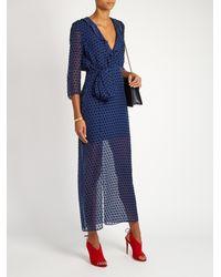 Saloni Blue Jennifer Velvet 3/4-length Sleeve Dress