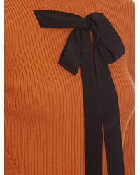 Rochas Orange Bow-front Ribbed-knit Sweater