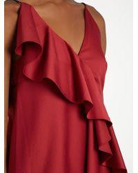 Anna October Red Asymmetric-ruffle Sleeveless Dress