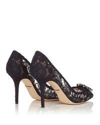 Dolce & Gabbana | Black Crystal-embellished Lace Pumps | Lyst
