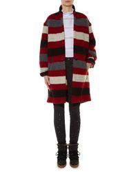 Étoile Isabel Marant Black Gabrie Blanket-striped Coat