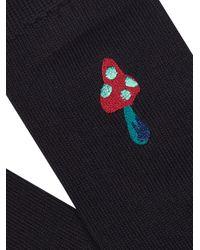Paul Smith Blue Mushroom-embroidered Cotton-blend Socks for men