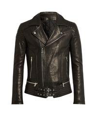 Balmain Black Quilted-panel Leather Biker Jacket for men