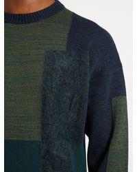 OAMC - Multicolor Paneled Wool-blend Crew-neck Sweater for Men - Lyst